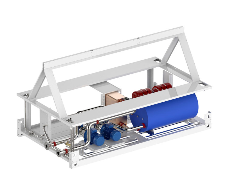gruppi idronici integrati su chiller per stoccaggio e distribuziona acqua refrigerata